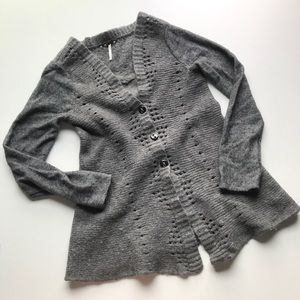 Free People Cardigan Sweater Lace Ruffle Floral